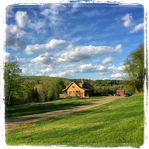trees houses homes sky grass clouds landscapes vermont vivid blueskies driveways vt lawns logcabins dramaticskies westdanville bathedinlight