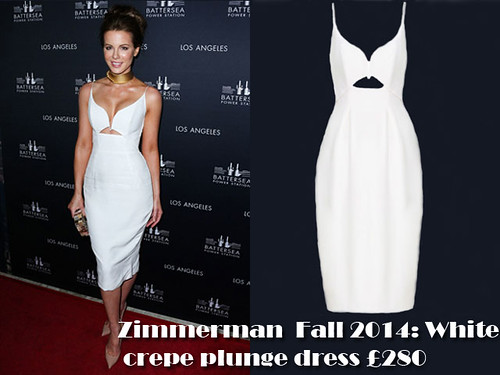 Kate Beckinsale in a white Zimmerman crepe plunge dress
