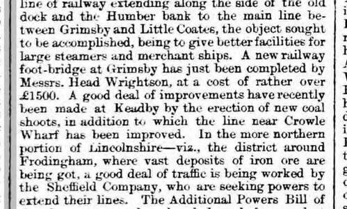 Railway Improvements at Crowle Sheffield Independent Tuesday 18 June 1872