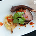 Sous vide Colorado lamb rack over Red Oak fire, Korean pancake, kimchi by Chef John Tesar of Knife Dallas