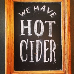 We have hot cider from Champlain Orchards! Perfect for these rainy fall days.