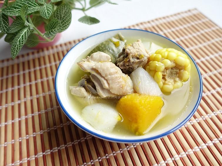 南瓜湯,南瓜雞湯,南瓜香菇雞湯,山藥湯,雞湯,養生湯 @Amanda生活美食料理