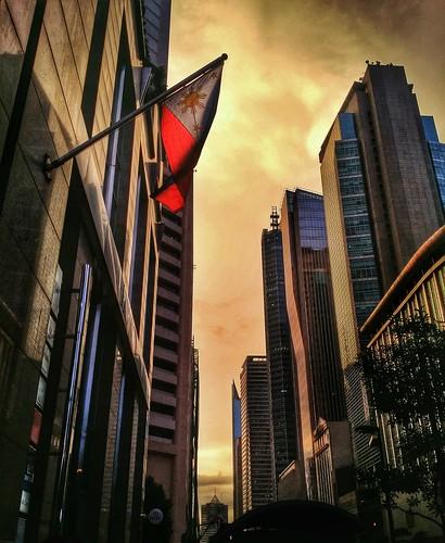 city sunset urban building buildings flag philippines makati