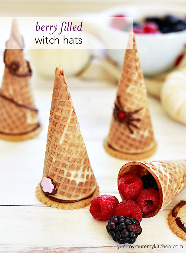 witch hat cones filled with berries