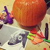 Pumpkin planning! @bradharv & I are repping the marketing dept. for today's carving contest.