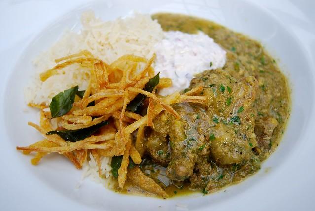 Pheasent Curry with Crispy Shallots & Spiced Yogurt at Roast, Borough Market