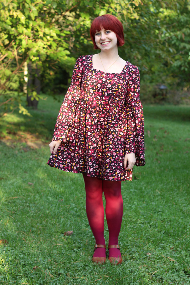 Retro Style Floral Bell Sleeved Dress, Pink Tights, and Brown Clogs