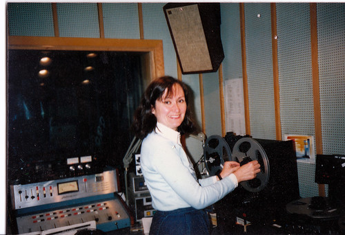 Laura producing For the Birds at KUMD in the 80s.