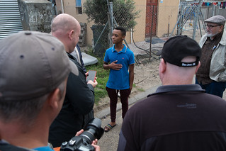 Golden, The Flowerman's son speaks with Leadership and Global Perspectives students, Khayelitsha township, South Africa