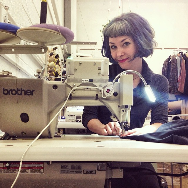 Day 6: Me! 😁 at my sweet sewing job, with my sweet sewing machine boyfriend, Turbo (don't tell my Bernina!). #bpSewvember