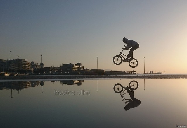 Bmx rider Flying at Sunset