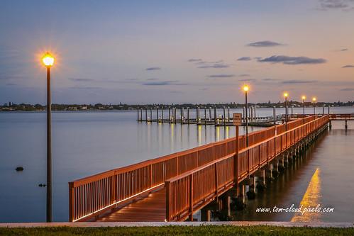 docks floating float floatingdocks boardwalk waterfront stuart florida water river stlucieriver outdoors outside night lightsdawn predawn pier