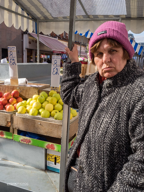 Woman at fruit stand