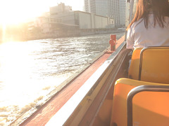 Employees boat ride to work in the morning