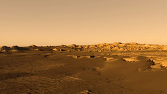 360˚ View: Crater in Western Arabia Terra with Stair-Stepped Hills and Dark Dunes