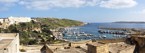 canon eos 70d digital color colorful nice malta sea sky blue green bay rock mountain gozo island weather spring field flowers city old ships harbour ferry view panorama