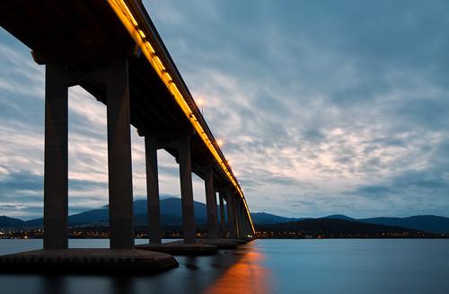 bridge sunset reflection night clouds canon lights dusk tasmania hobart 1635mm tasmanbridge