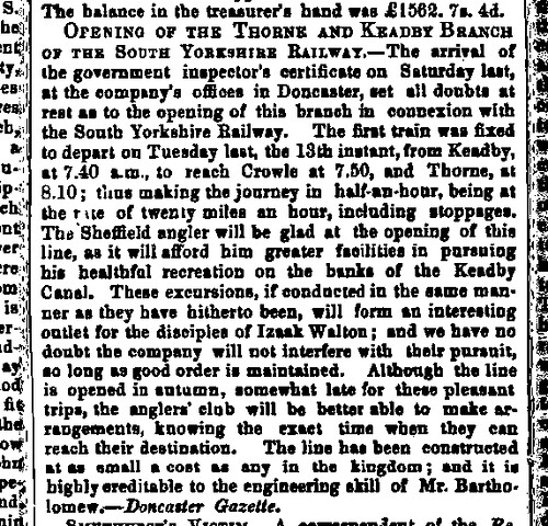 Railway Opening Sheffield Independent Saturday 17 September 1859