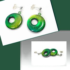 polymer clay Teal-Lime Dangle Post Earrings