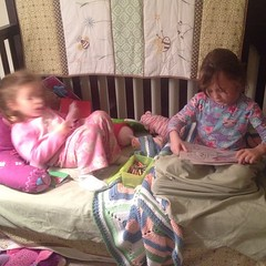 How I found the Girls this morning. Ashlin is blurry because she'd been up and moving at hyper speed since before 6am. #sisters
