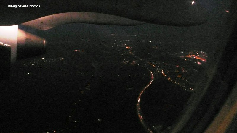 London by night from a plane