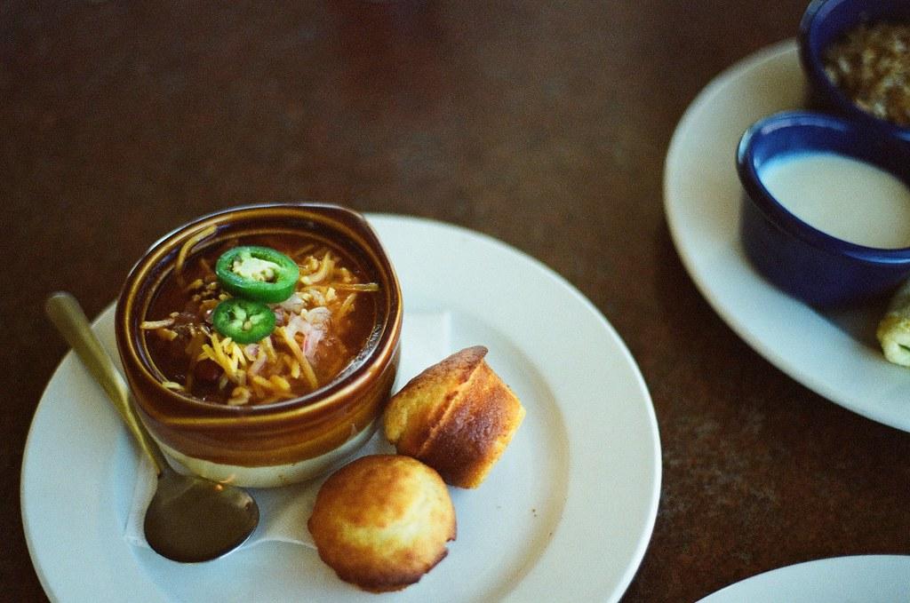Chili soup and corn bread