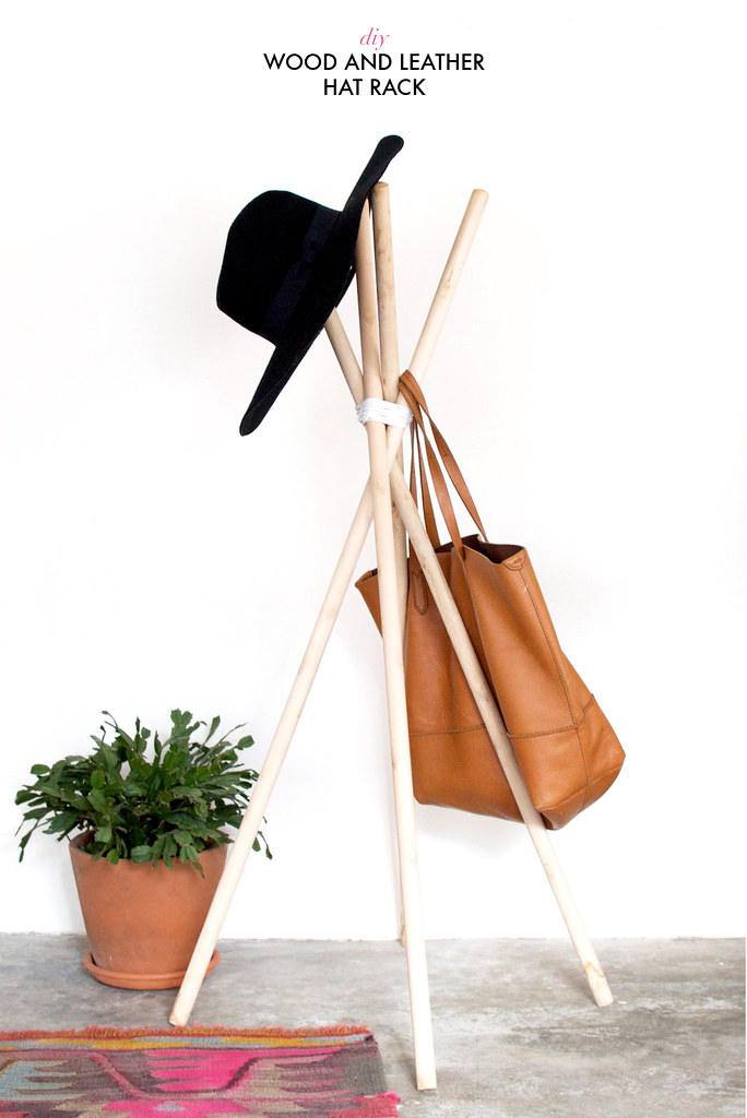 Diy quick wood and leather hat rack a pair a spare for Diy hat organizer