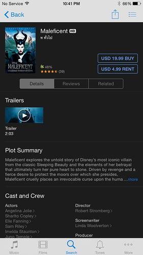 Maleficent บน iTunes Store มีวางจำหน่ายแล้ว