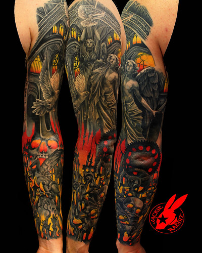 Heaven vs hell tattoo sleeve pictures to pin on pinterest for Battle between heaven and hell tattoo