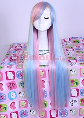 Long Zipper Multi-color Straight Anime Cosplay hair wig CB55