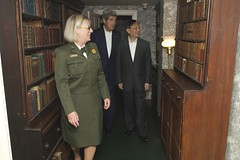 National Park Service Deputy Superintendent Caroline Keinath leads U.S. Secretary of State John Kerry and Chinese State Councilor Yang Jiechi past a row of bookcases during a tour of the Adams National Historic Site in Quincy, Massachusetts, following a series of bilateral meetings in the Secretary's hometown of Boston on October 18, 2014. [State Department photo/ Public Domain]