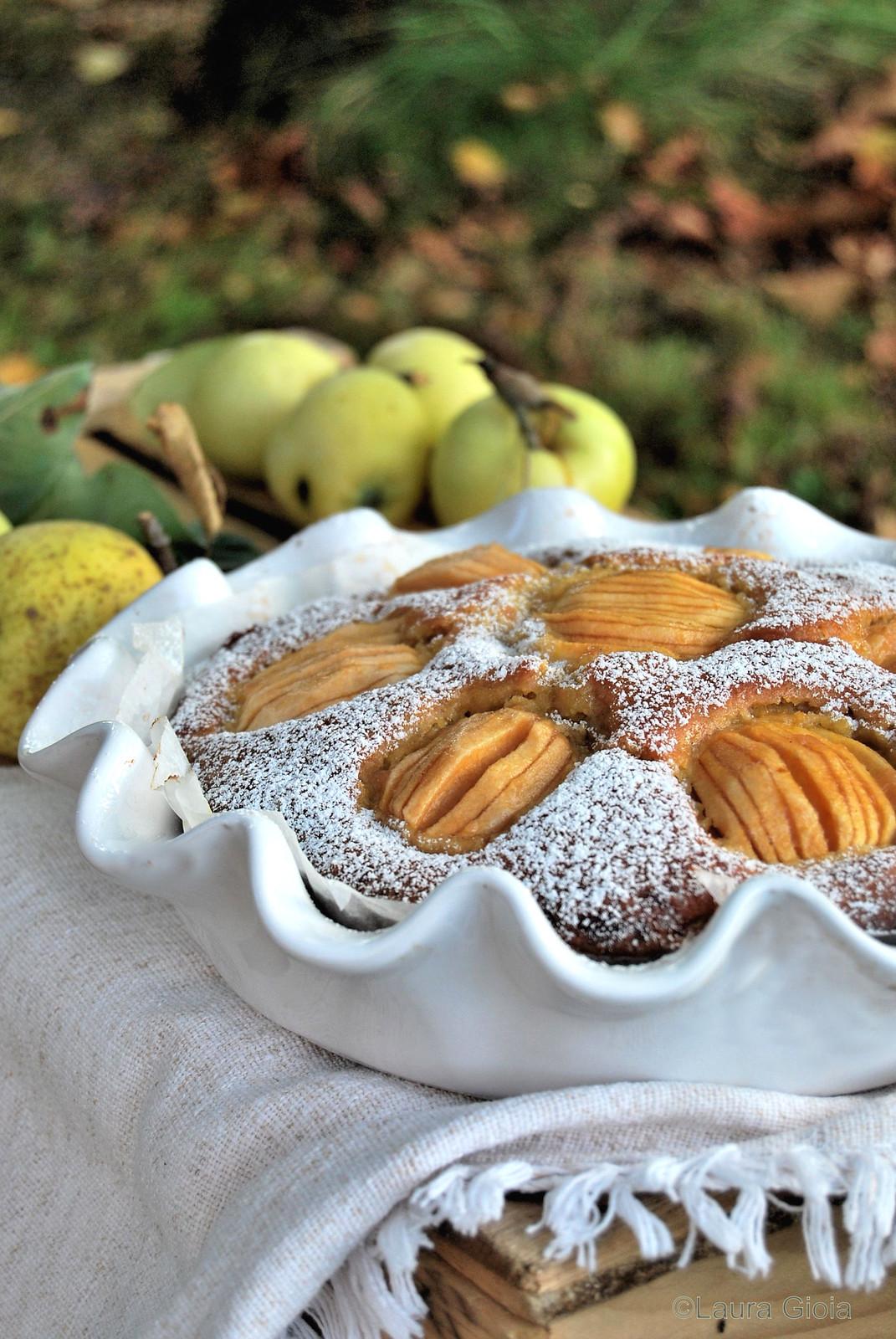 Torta di mele limoncelle con farina di farro, zucchero di canna e yogurt