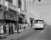 Trolley Coaches Loading and Unloading Passengers Outside Seals Baseball Stadium, Game is SF Giants vs. Philadelphia | April 29, 1958 | X4135_3