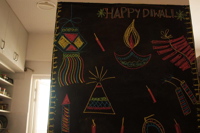 Chalkboard art for Diwali