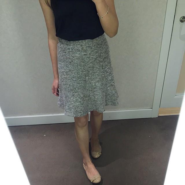 Ann Taylor petite tweed flounce skirt, gooden ochre, 0P