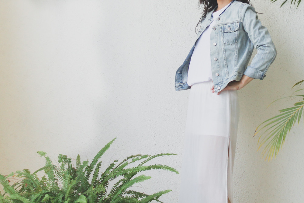 HM sheer maxi skirt denim jacket-2
