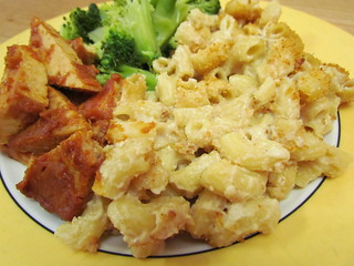 Baked Macaroni and Cashew Cheese; mango BBQ tofu; broccoli