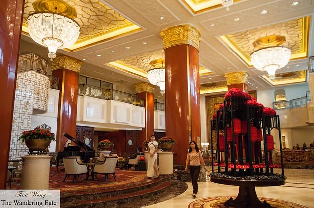 Red & gold lobby at Shangri-La China World Hotel