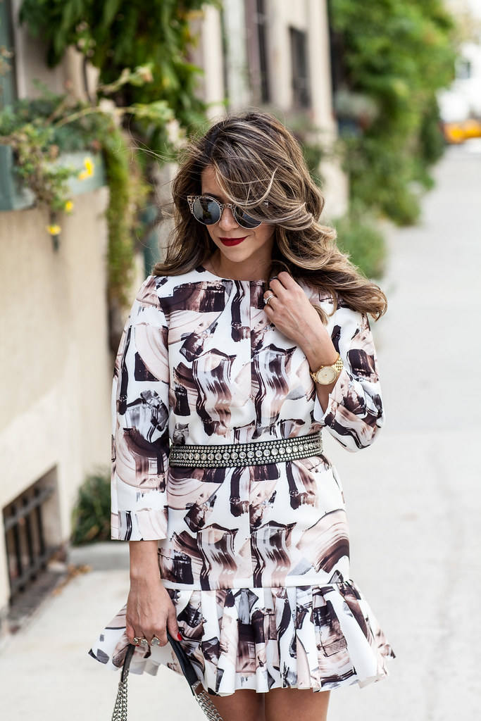 H&M printed dress drop waisted dress dvf bethany heels foley and corinna bag nordstrom sunglasses wearing a belt with a dress jeweled belt olivia palermo inspiration look kendra scott ring michael kore watch piperlime coat the fifth the furthest thing gray coat
