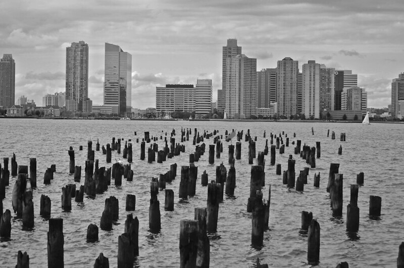 Pilings walk to Jersey City, New York City view,