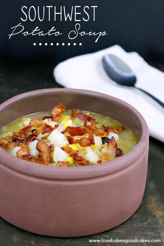 This Southwest Potato Soup is hearty, filling and will keep you warm on these cooler nights! Loaded with potatoes, corn, black beans, green chilies, onions and bacon!
