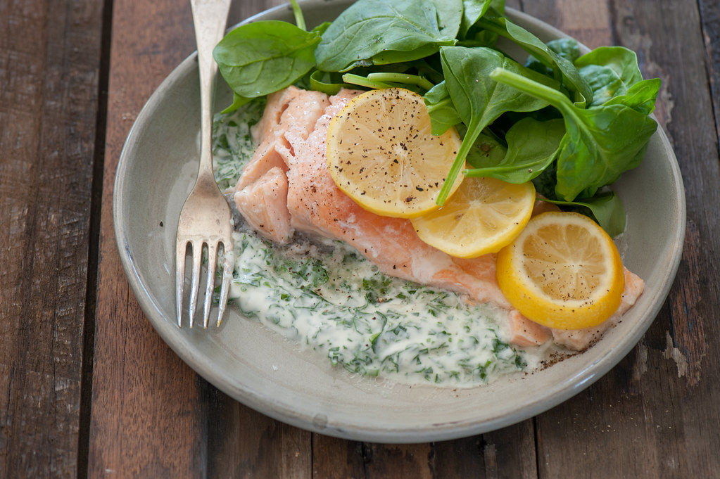 salmon with herby yoghurt