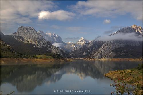españa naturaleza paisaje pantano cielo nubes león montañas embalse castillayleón riaño pitusa2 elsabustomagdalena