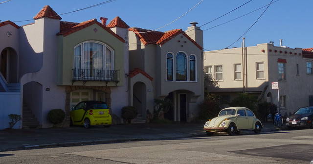 VW Bug and Smart Car on Irving St; The Sunset, San Francisco (2014)