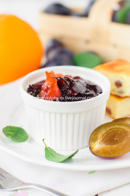 A Bowl (Ramekin) of Plum and Orange Zest Jam