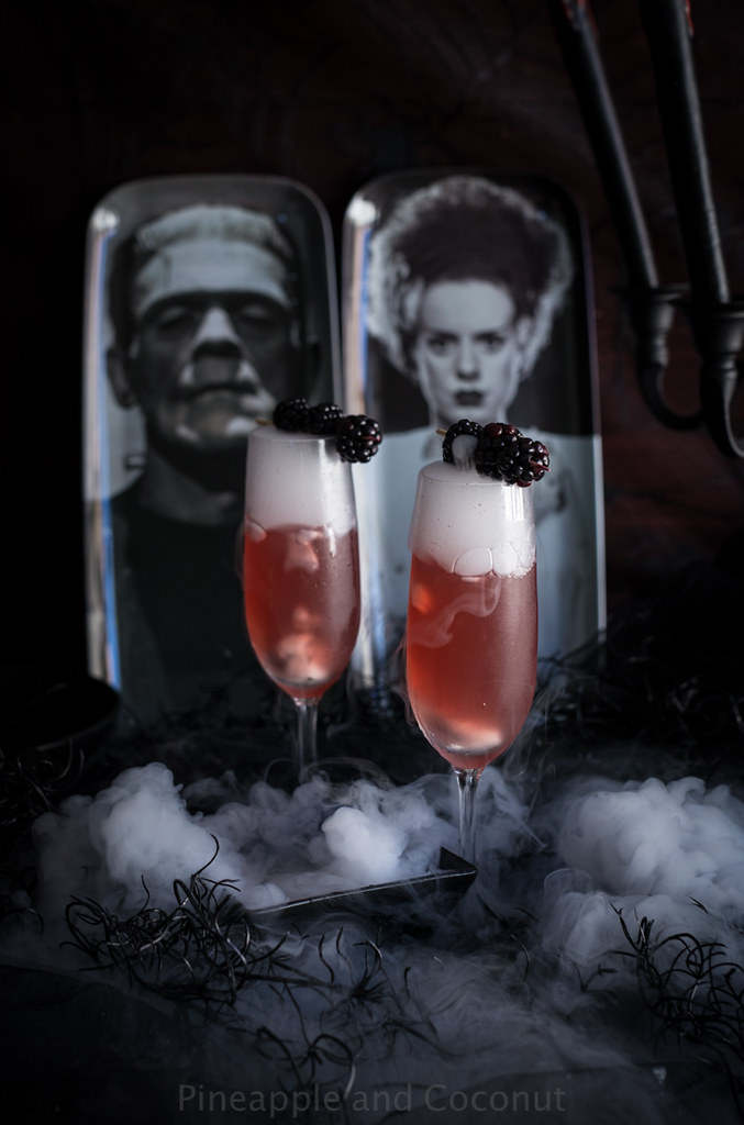 Bride of Frankenstein Cocktail - Vanilla Blackberry Champagne Cocktail www.pineappleandcoconut.com