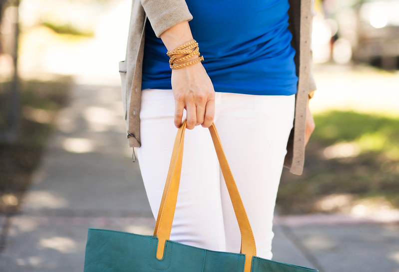cute & little blog | petite fashion | maternity baby bump summer fall style | isabella oliver bromley wrap top, long taupe cardigan, white skinny jeans, baublebar statement necklace, teal tote, nordstrom wool fedora | second trimester 26 weeks