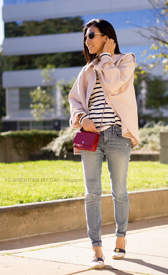 pink trench cape, striped top, distressed jeans, red crossbody bag, espadrilles