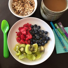 Muesli and soy milk with kiwi fruit, blueberries and raspberries while thinking of To Dos today. #foodporn