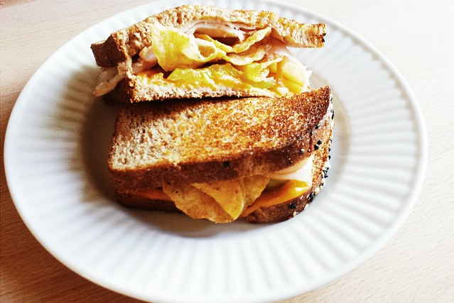 52 sandwiches no. 47: grilled turkey, cheese, pickle, and jalapeño chips on multigrain bread